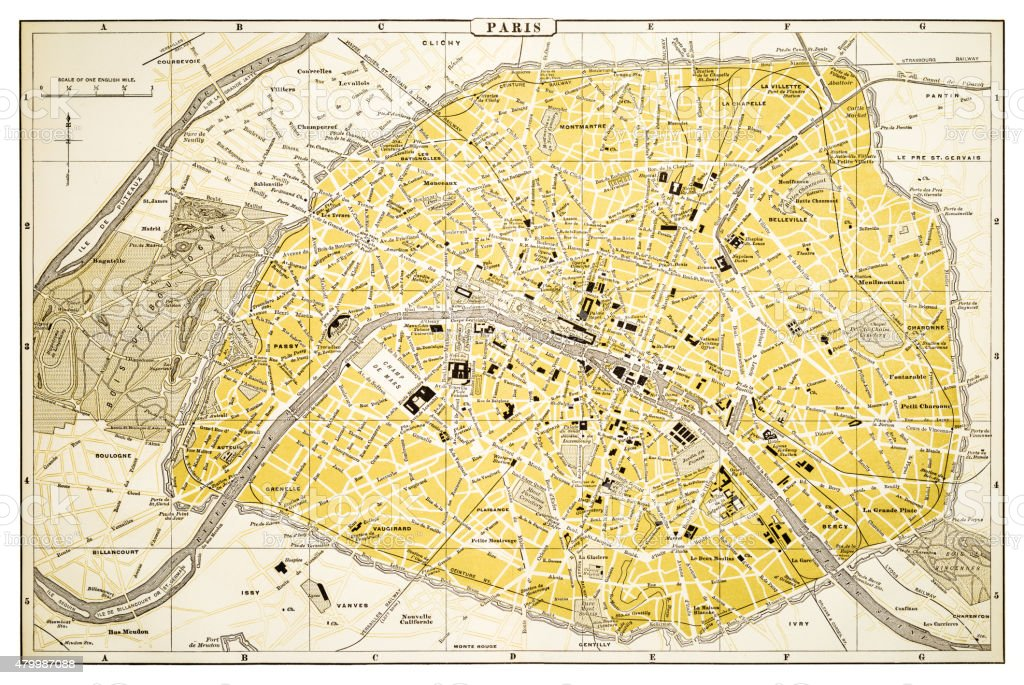 Map of Paris 1894 vector art illustration