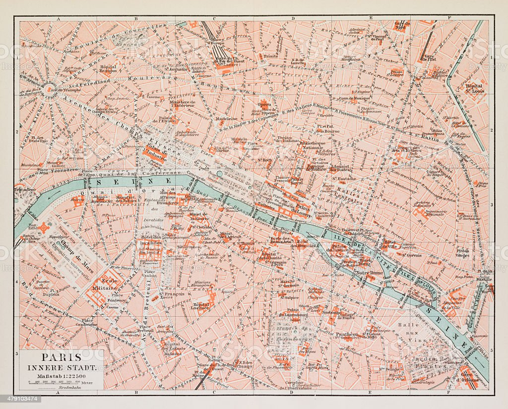 Map of Paris 1895 vector art illustration
