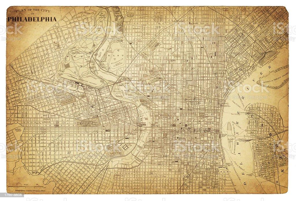 map of philadelphia 1882 vector art illustration