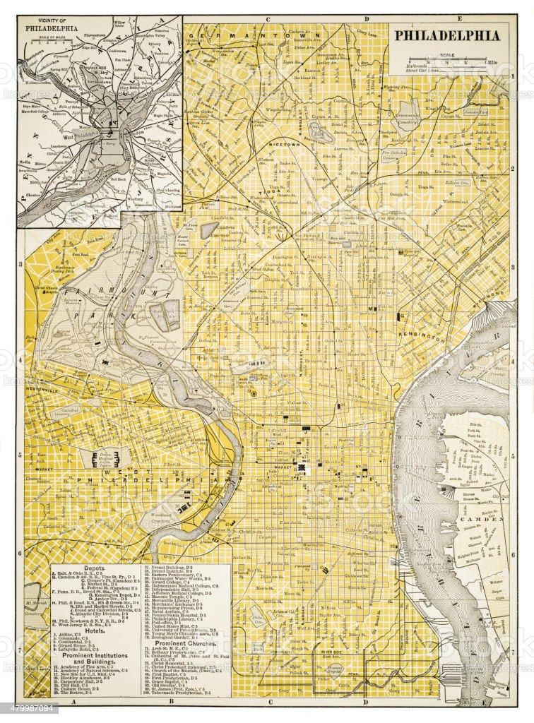 Map of Philadelphia 1894 vector art illustration