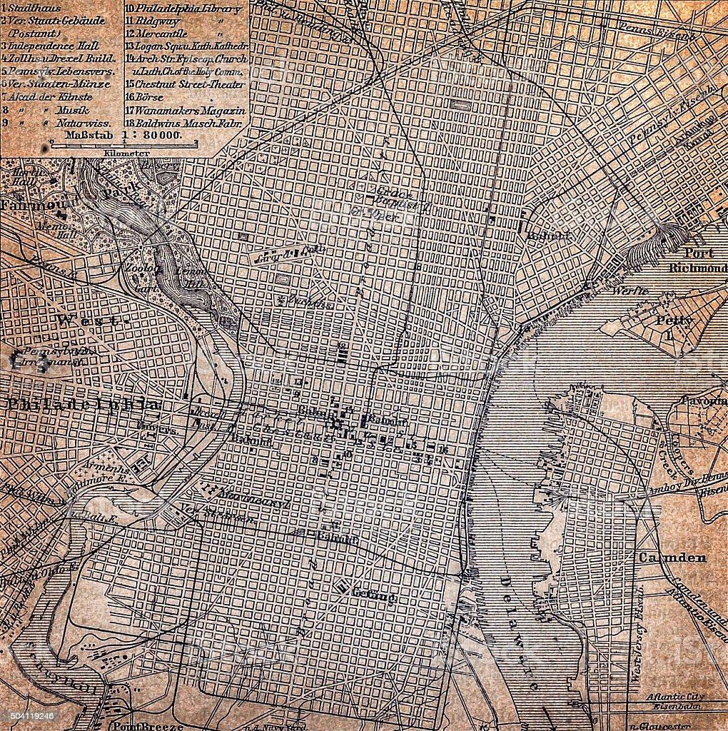 Map of Philadelphia 1898 vector art illustration