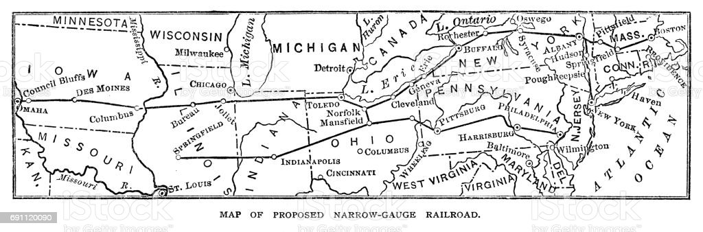 Map of proposed Narrow Gauge Railroad vector art illustration