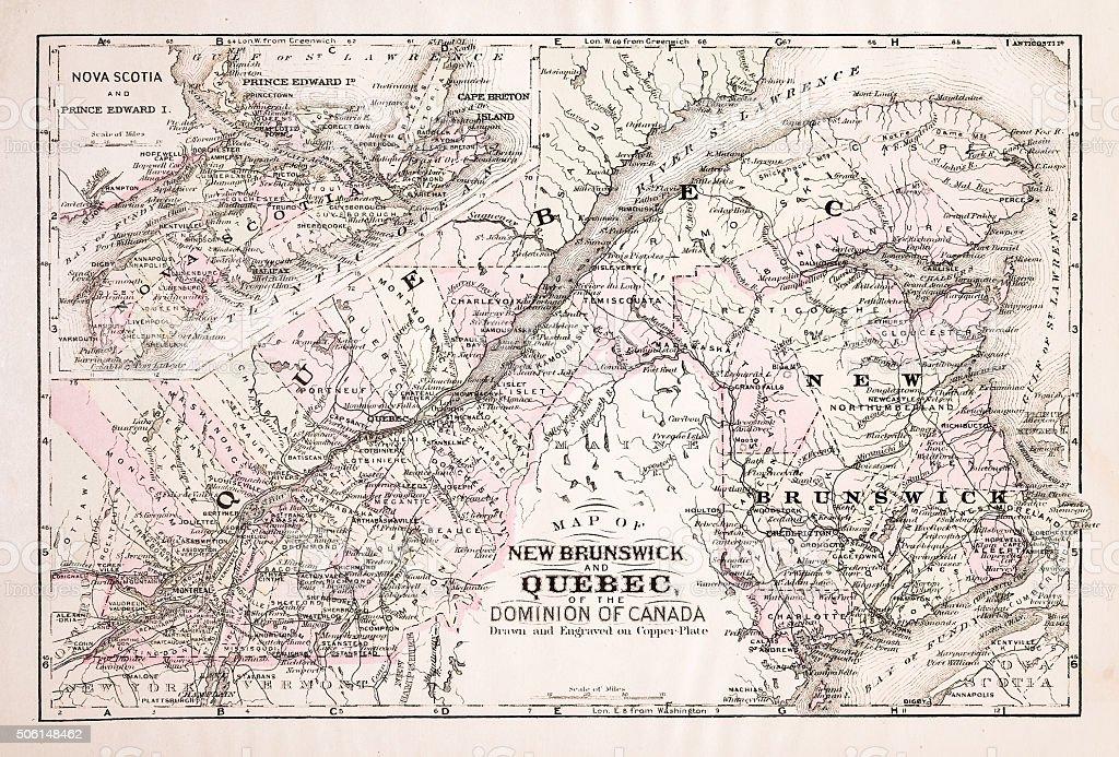Map of Quebec 1894 vector art illustration