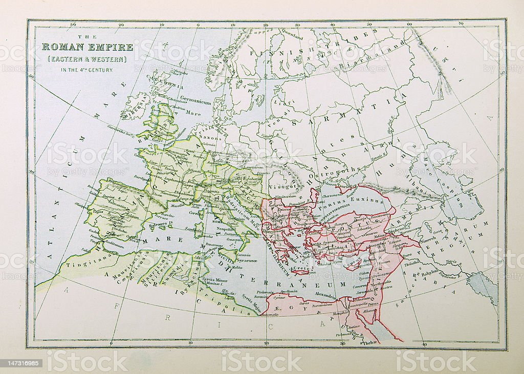 Map of Roman Empire vector art illustration