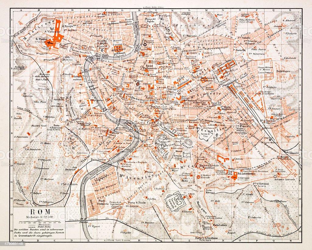 Map of Rome 1896 vector art illustration