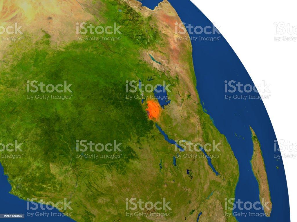 Map of Rwanda in red stock photo