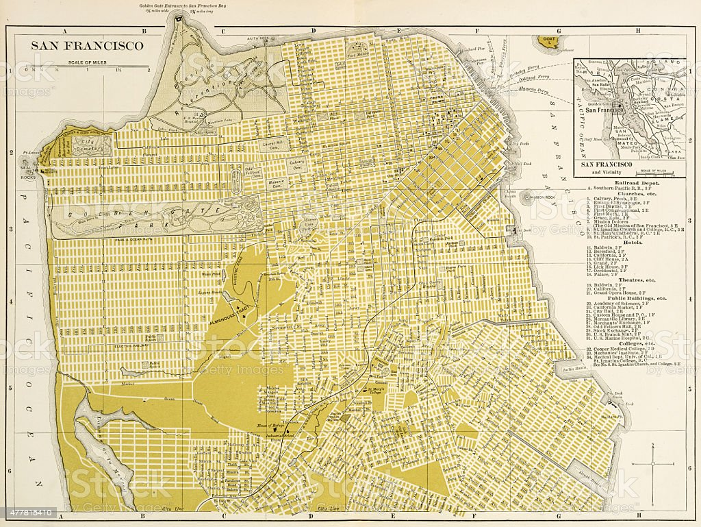 Map of San Francisco 1894 vector art illustration