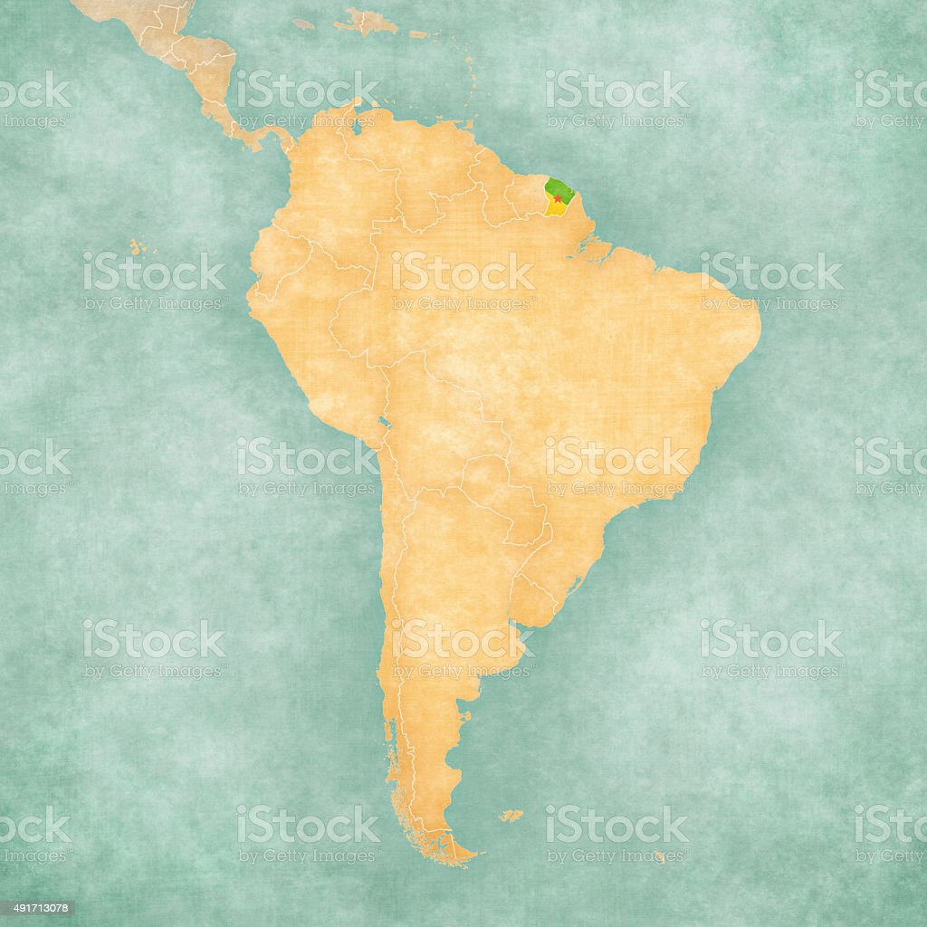 Map of South America - French Guiana (Vintage Series) vector art illustration