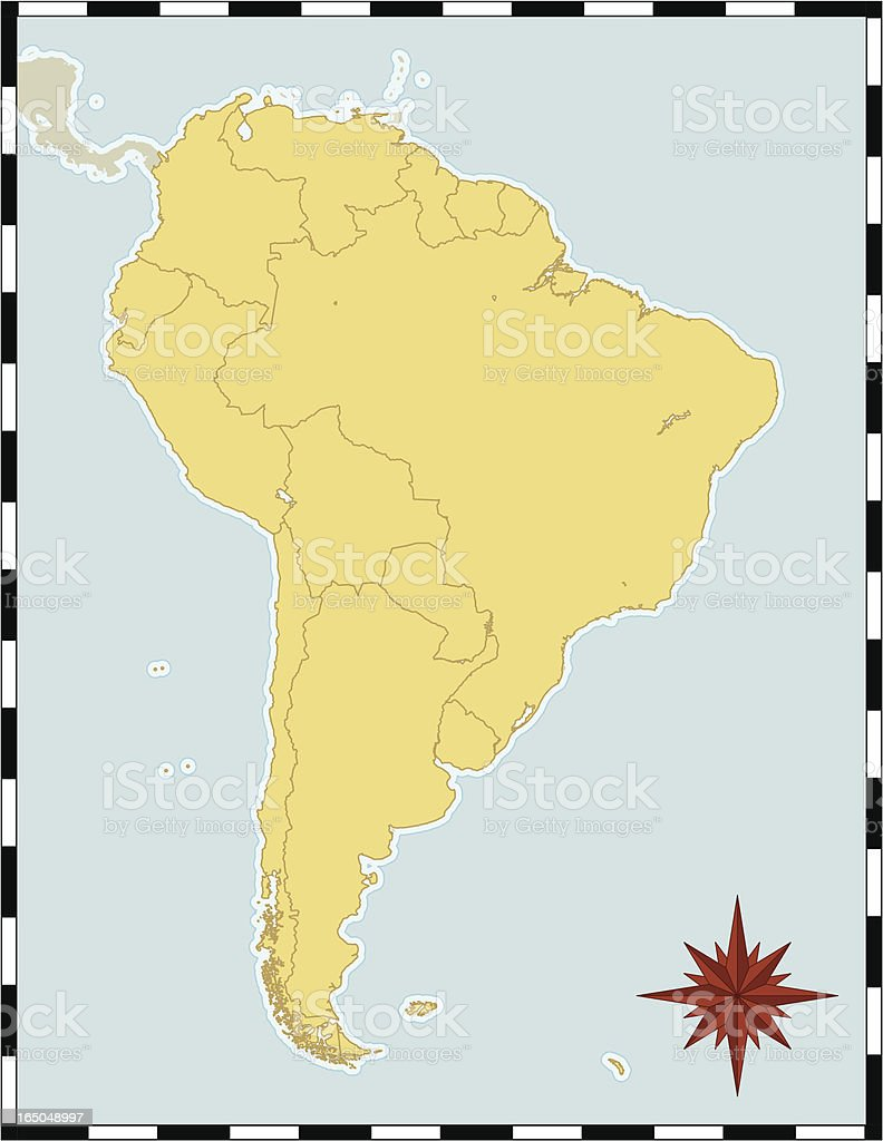 Map of South America vector art illustration