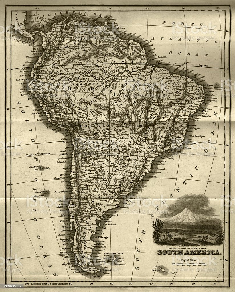 Map of South America (early 19th century steel engraving) vector art illustration