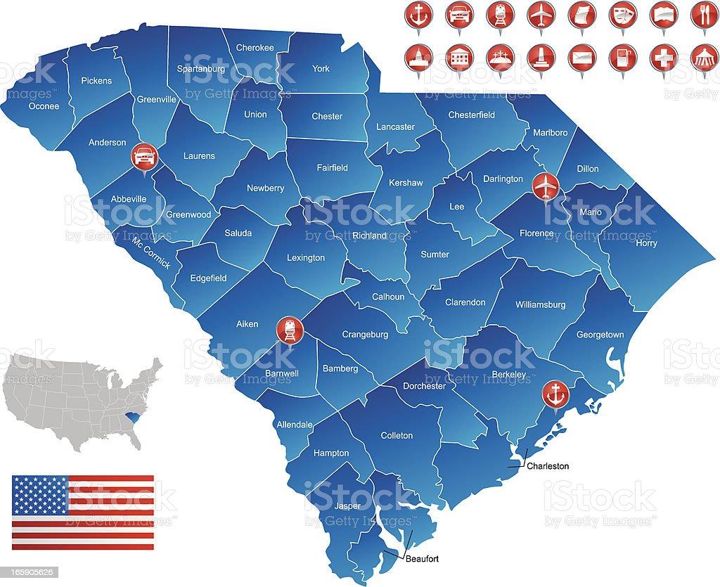 Map of South Carolina royalty-free stock vector art