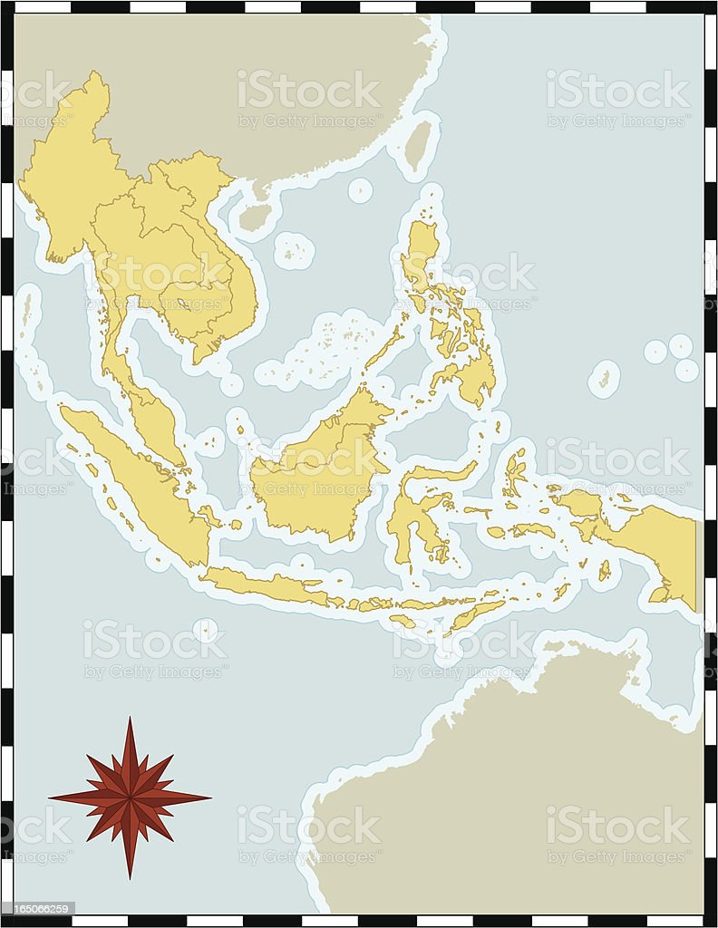 Map of South East Asia vector art illustration