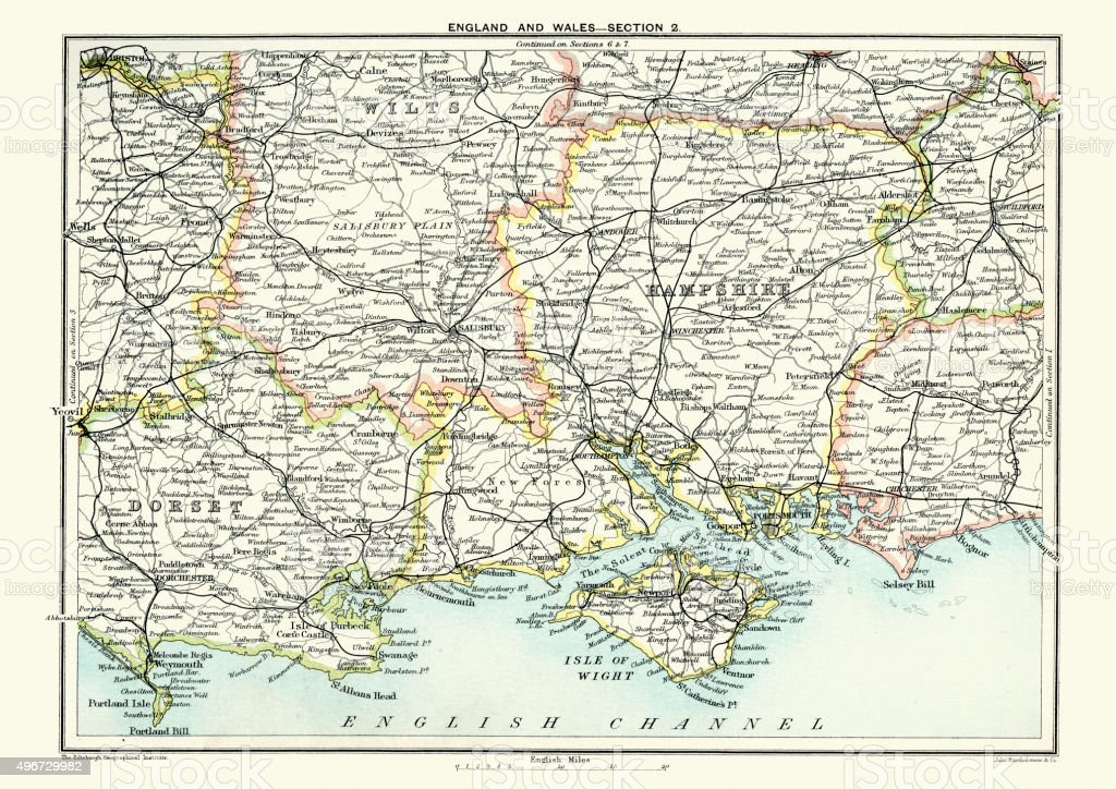 Map of South East England, Hampshire, Dorset, Wiltshire 1891 vector art illustration