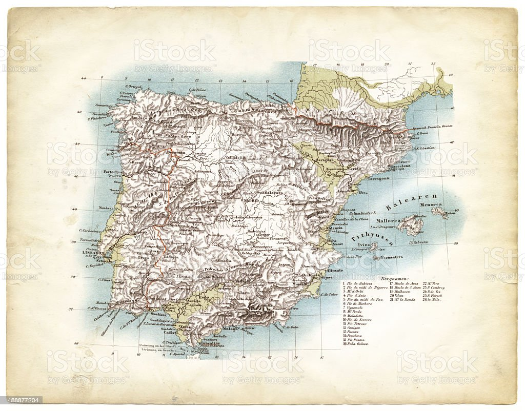 Map of Spain 1863 vector art illustration