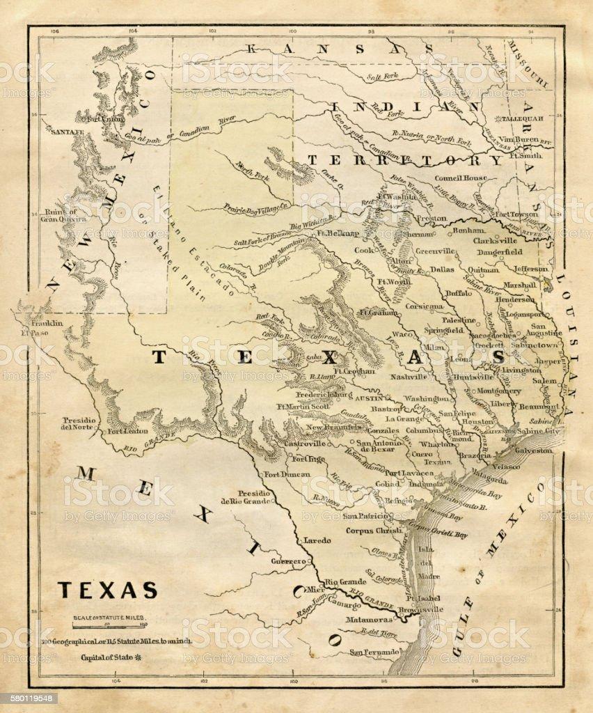 Map of Texas 1856 vector art illustration