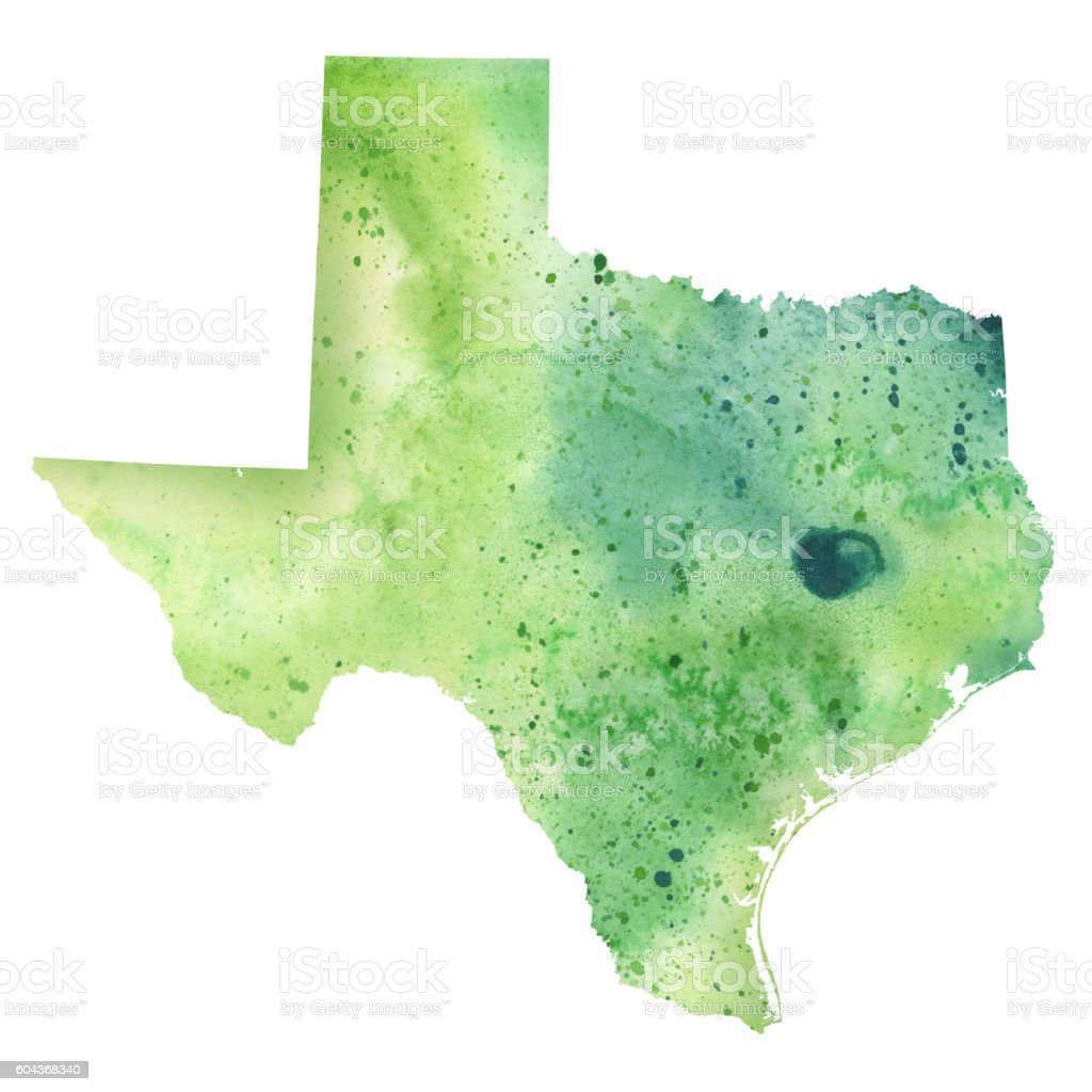 Map of Texas with Watercolor Texture - Raster Illustration vector art illustration