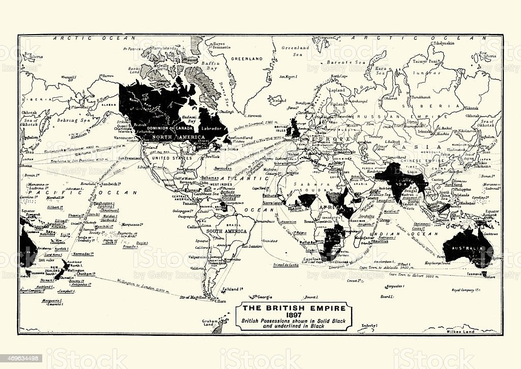Map of the British Empire in 1897 vector art illustration