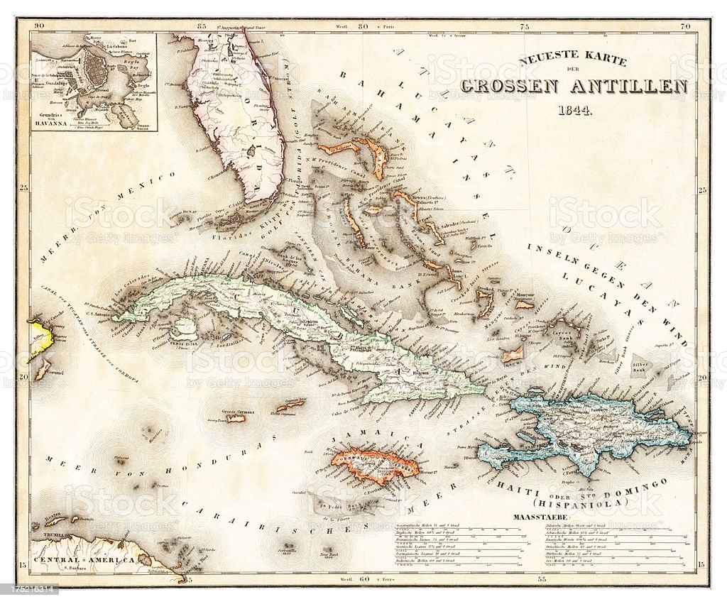 map of the caribbean 1844 vector art illustration