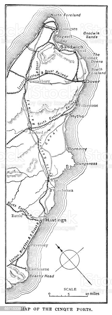 Map of the Cinque Ports (Victorian engraving) vector art illustration