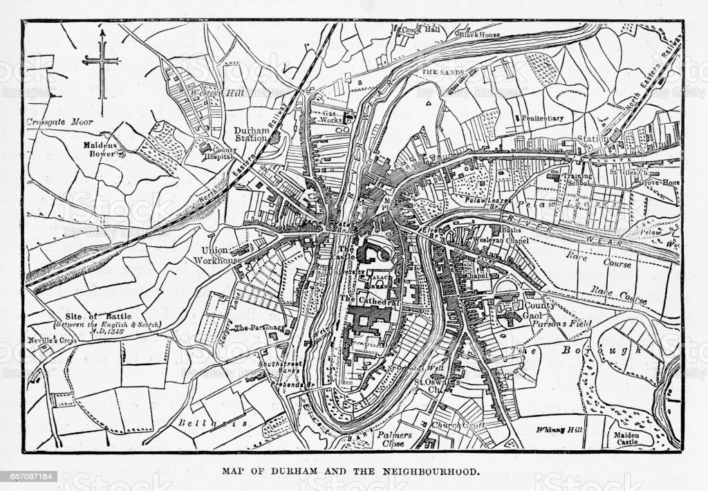 Map of the City of Durham, England Victorian Engraving, 1840 vector art illustration