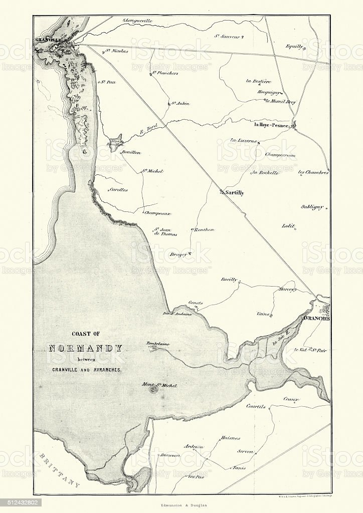 Map of the Coast of Normandy, France, 19th Century vector art illustration