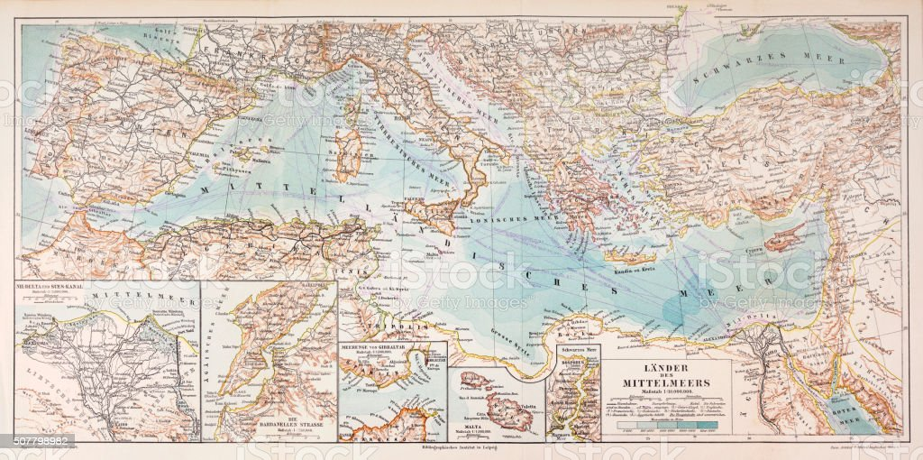 Map of the countries of the Mediterranean 1897 vector art illustration