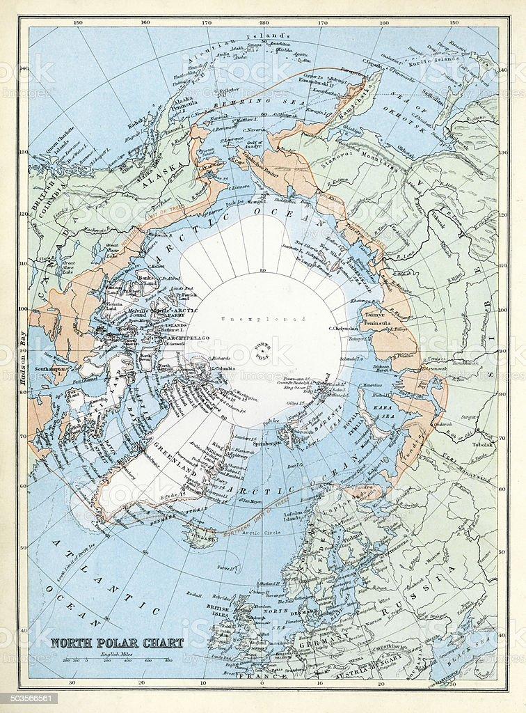 Map of the North Polar Region vector art illustration