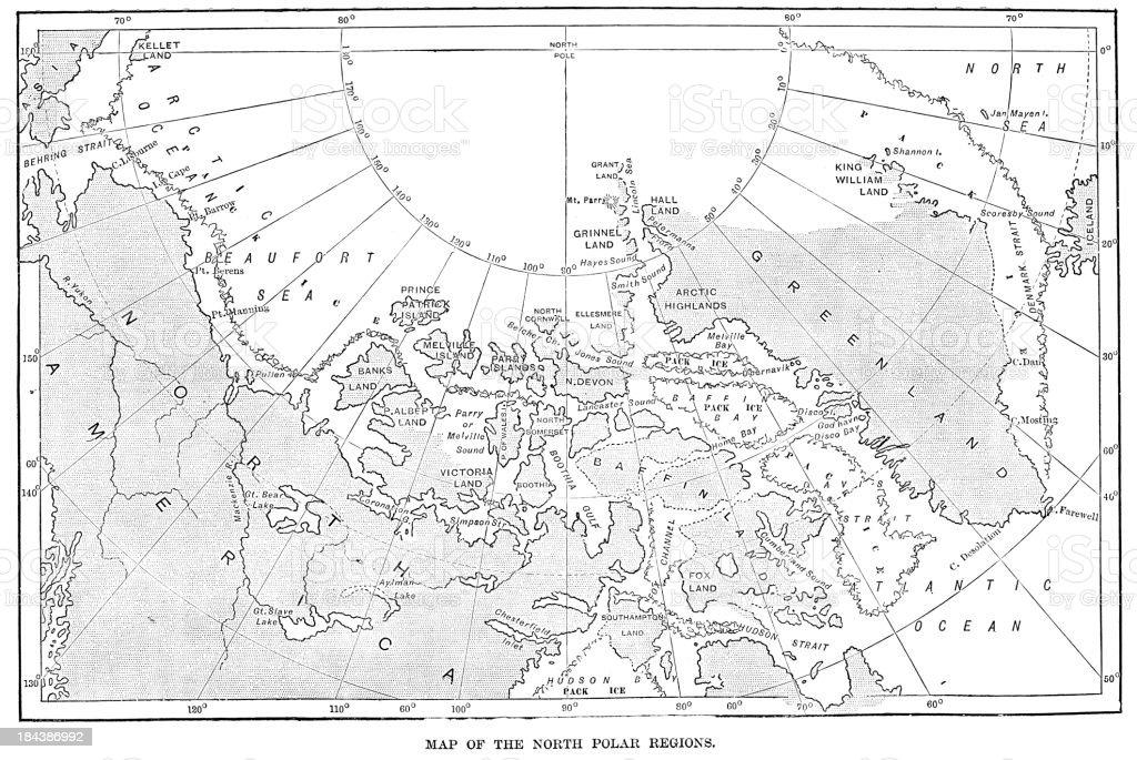 Map of the North Polar Regions vector art illustration