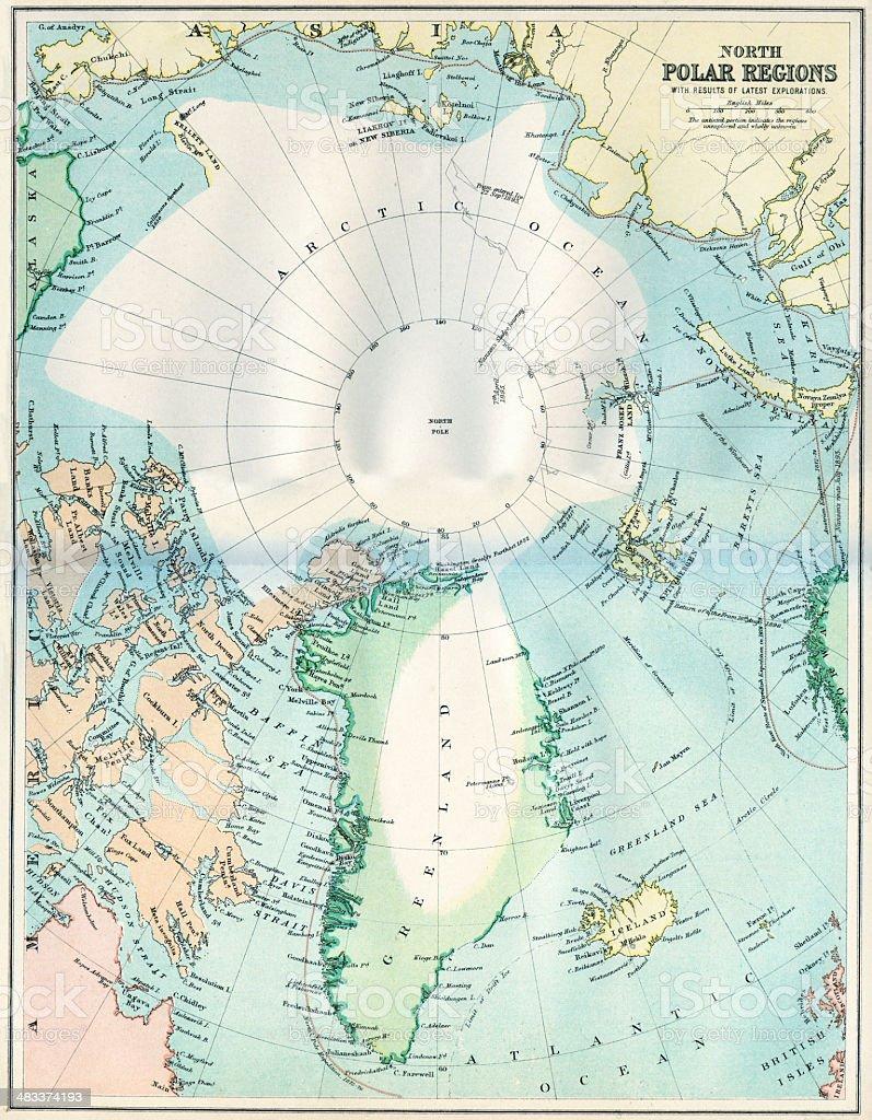 Map of the North Polar Regions royalty-free stock vector art