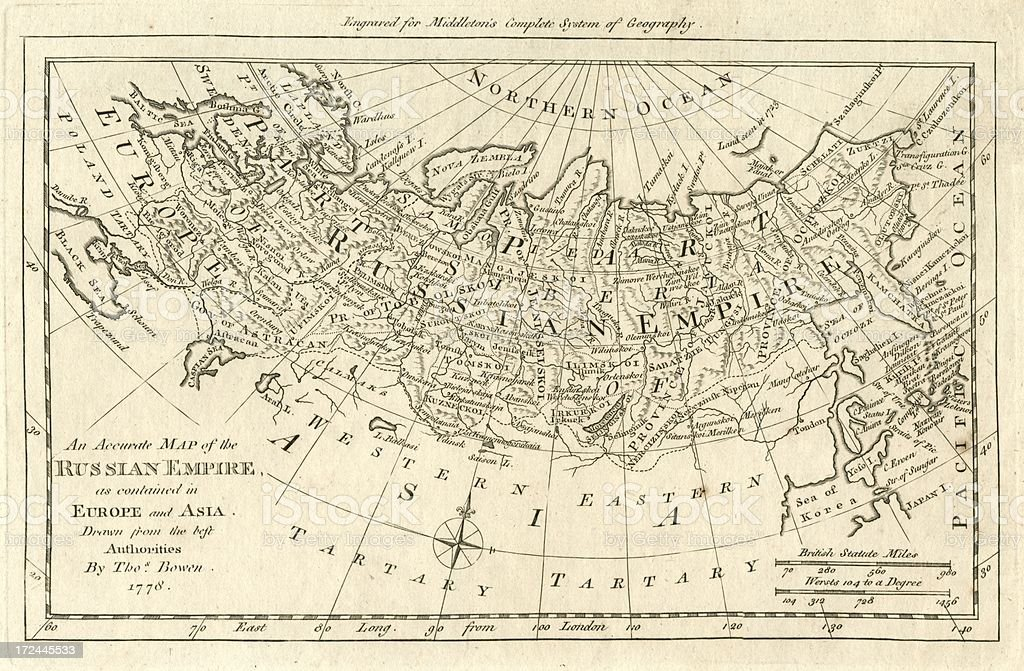 Map of the Russian Empire 18th century 1778 vector art illustration