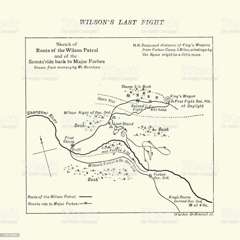 Map of the Shangani Patrol and Major Wilson's Last Stand vector art illustration