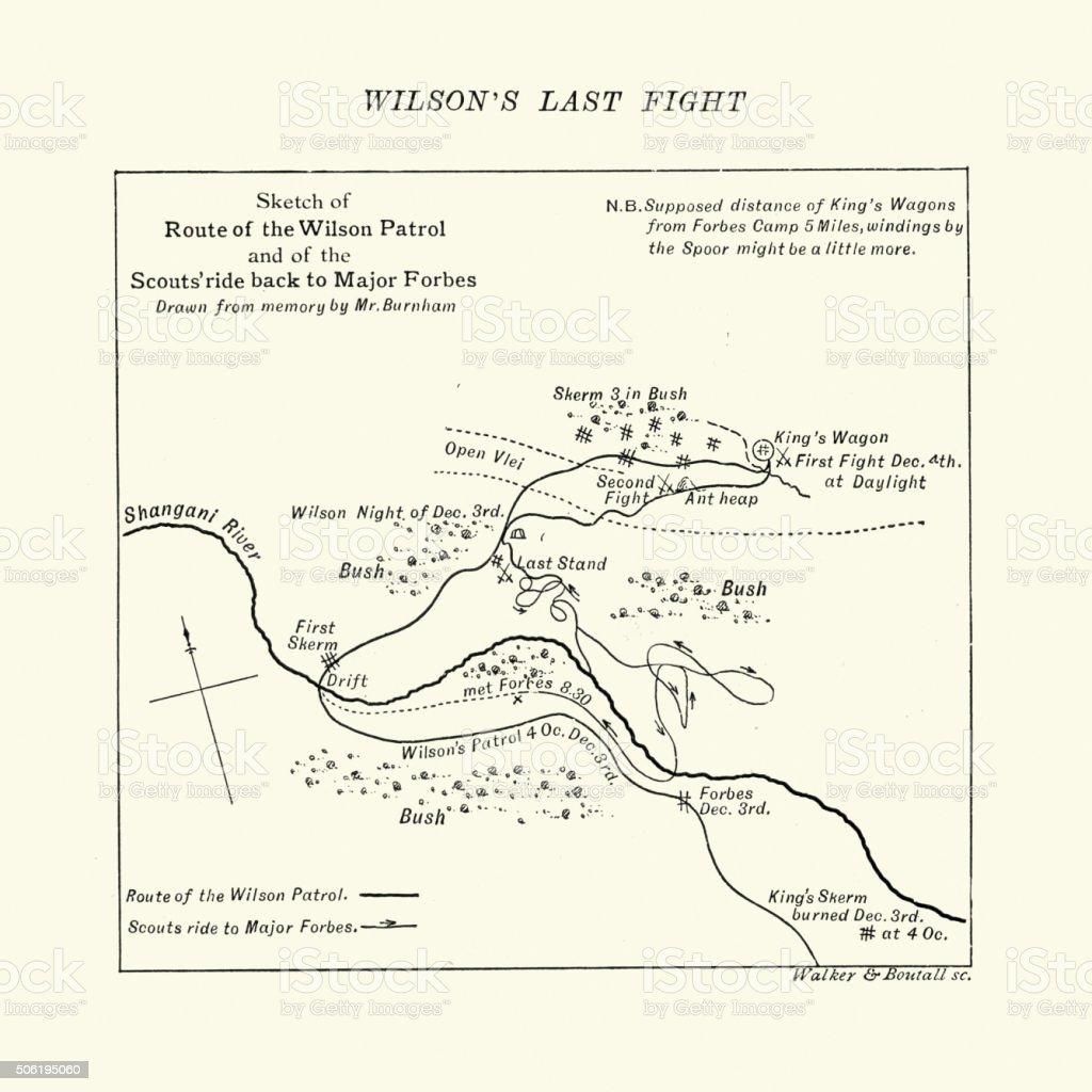 Map of the Shangani Patrol and Major Wilson's Last Stand vector art illustration