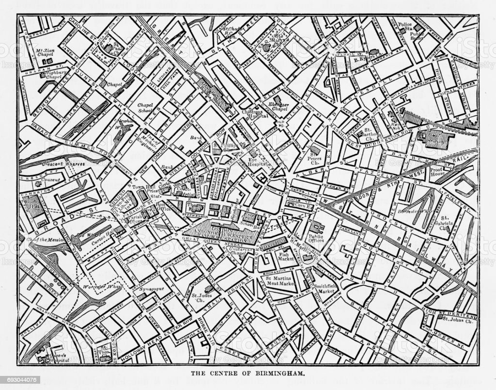 Map of The Town Center of Birmingham, England Victorian Engraving, 1840 vector art illustration