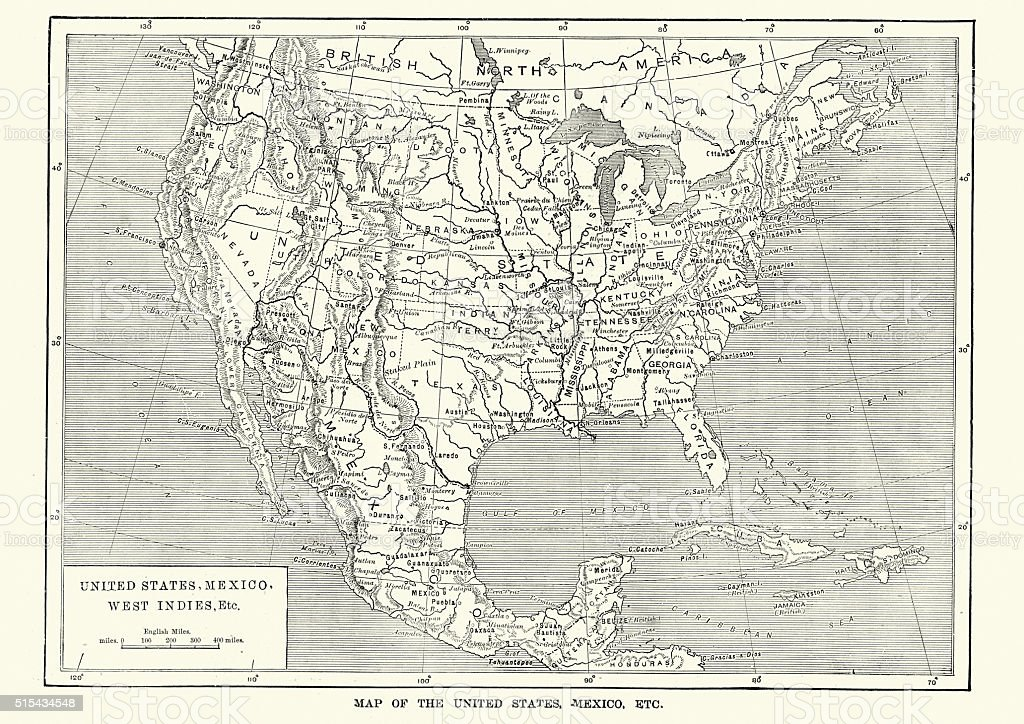 Map Of The United States And Mexico 19th Century stock vector art – Map United States and Mexico