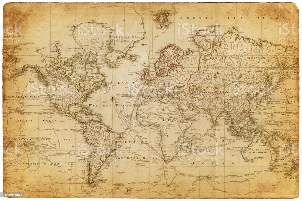 map of the world 1800 vector art illustration