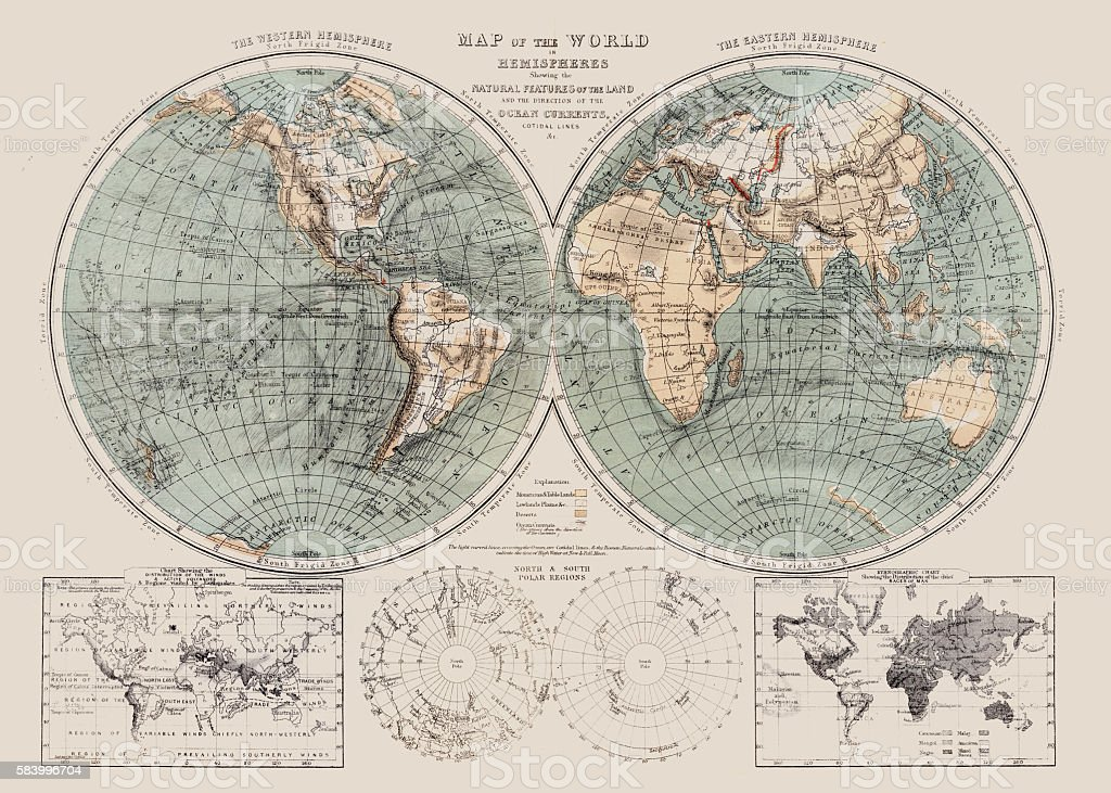 Map of the world 1869 vector art illustration