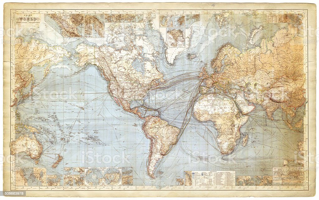 Map of the world 1877 stock photo