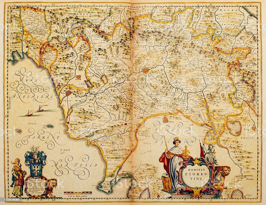 Map of Tuscany 1635 vector art illustration