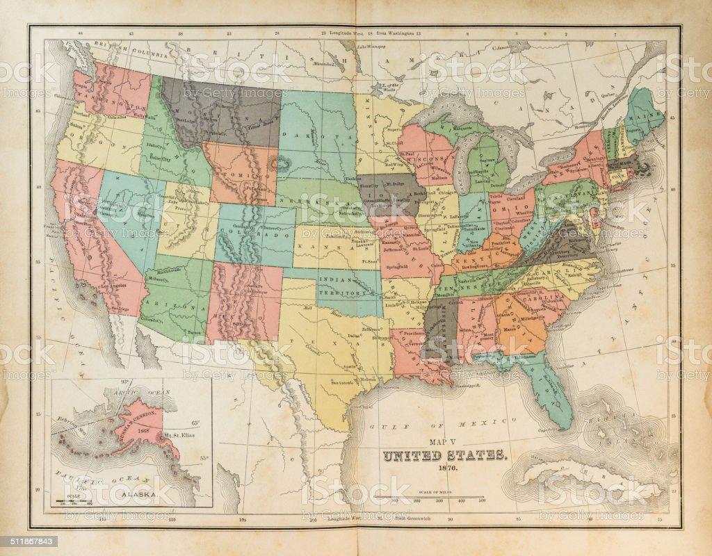 Map of United States 1876 vector art illustration