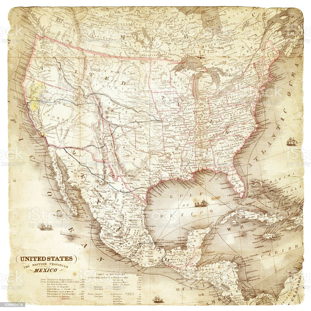 Map of United States and Mexico 1849 stock photo