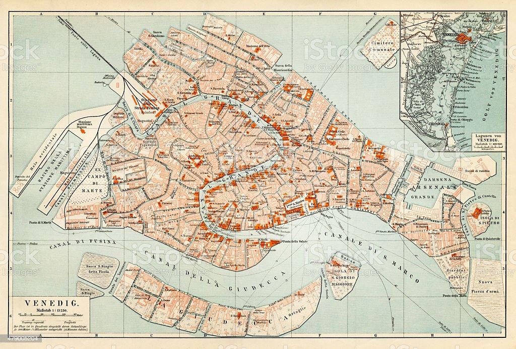 Map of Venice 1897 vector art illustration