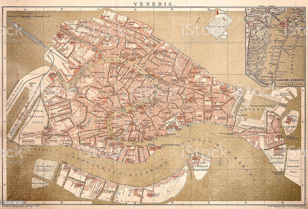 Map of Venice 1898 vector art illustration