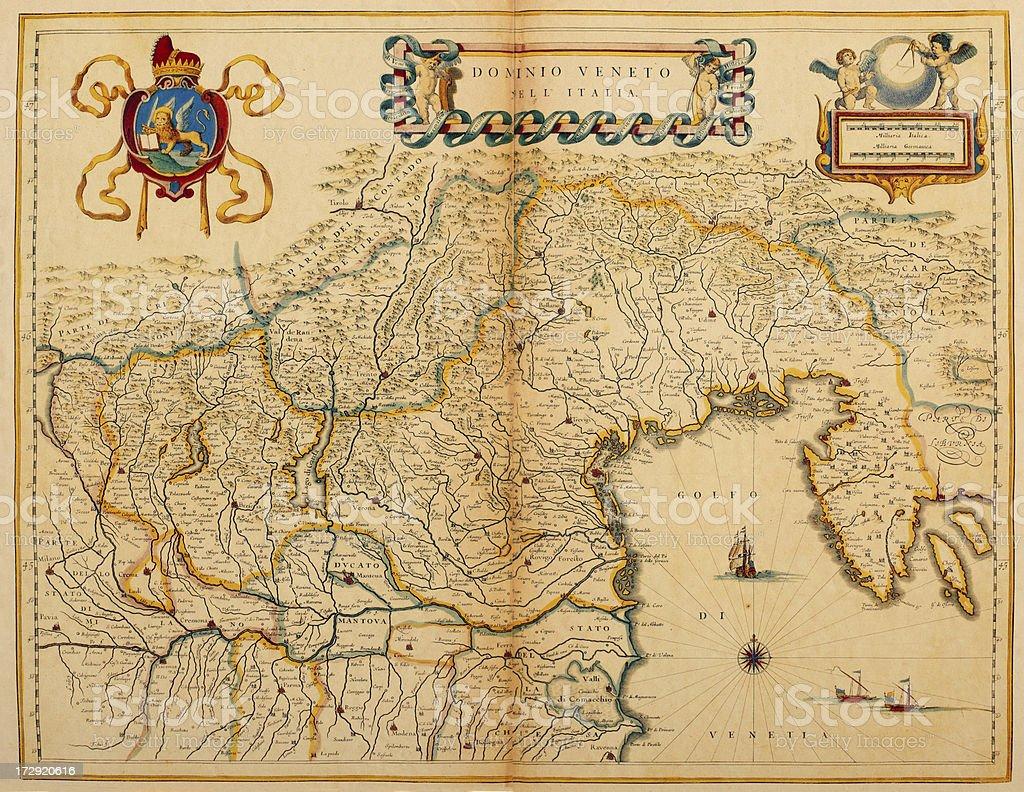 Map of Venice and Veneto region 1635 vector art illustration