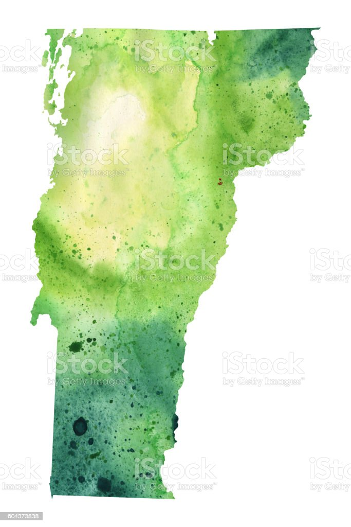 Map of Vermont with Watercolor Texture - Raster Illustration vector art illustration