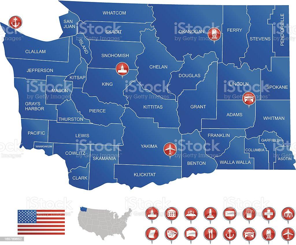 Map of Washington State royalty-free stock vector art