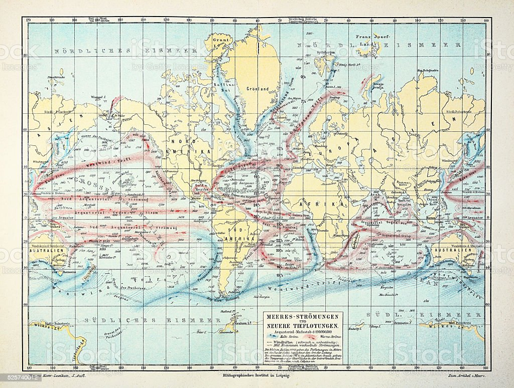 Map of weather and ocean currents 1895 stock photo