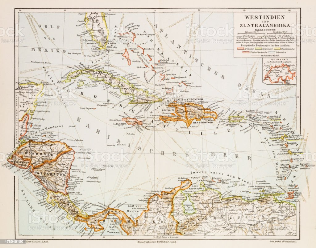 Map of West Indies 1897 vector art illustration