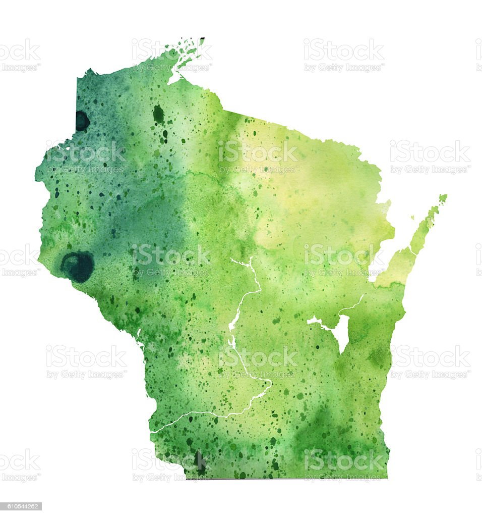 Map of Wisconsin with Watercolor Texture - Raster Illustration vector art illustration