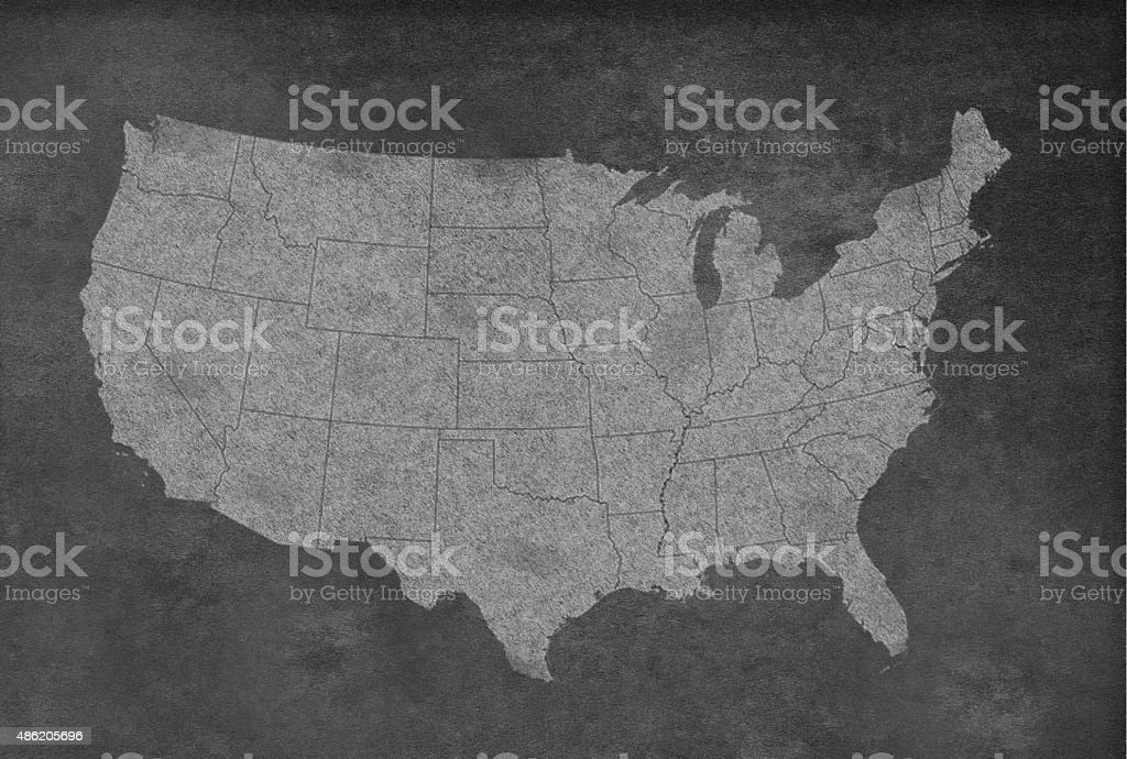 USA Map on a Blackboard vector art illustration