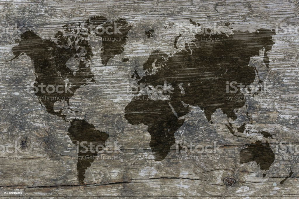 Map on wood vector art illustration